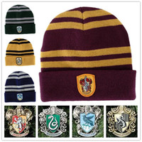Wholesale Knited Winter Hat - Harry Potter Hat School Unisex Knited hats Cosplay Costume Warm Stripe hats Christmas gift hat LA155-2