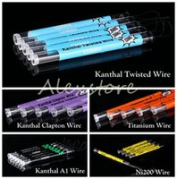 Wholesale Nickel Tubes - Kan thal A1 Nickel Ni 200 Ni200 Clapton Wire Kan thal Twisted Titanium Wire with 5 Different Heating Resistance 120 mm Tube Shape vape DHL
