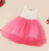 Wholesale Cute Old Fashioned Girl Dresses - Girls nail bead nets yarn dress child princess lace vest fashion party dress for 2-7year old babies, cute dress wholesale for free shipping