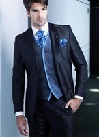 Wholesale Mens Wedding Suits Discounted - 2015 Hot custom made Mens Wedding Suits Groom Tuxedos Discount Wholesale Groom Tuxedos jacket+pant+tie best men tuxedos suitsq165