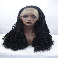 teclar polegadas venda por atacado-rendas frente perucas trança preto cabelo fibra química perucas de cabelo, um de 28 polegadas caixa Bob Afro tecido com uma longa peruca preta e uma peruca sintética preta