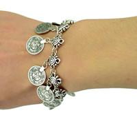 ethnische feste großhandel-Mode Bohemian Blume Kind Silber Münze Armband einstellbar handgemachte Blumenmuster Boho Gypsy Beachy ethnische Tribal Festival Schmuck
