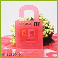 Wholesale Ios6 Iphone 4s - Newest Original R-SIM 10 rsim 10 R SIM 10 Thin Film sim Card Unlock for iphone 6 6plus 5S 5C 5 4S iOS6. X-8.X Support Sprint AT&T T-mobile