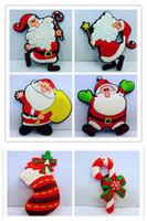 Wholesale Wholesale Decorative Magnets - 6 styles Creative cartoon Santa Claus stickers PVC Cute design Fridge magnets home decor 12pc lot kids Magnetic decorative Santa Claus