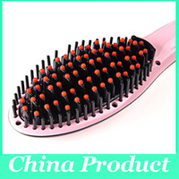 Wholesale Beauty Flat Iron - Anti Static Thermal Styling Brush Hairstyling Straightener Flat Iron Electric Temperature Control Beauty Hair instant Straighter Comb 002939
