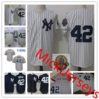 Wholesale Navy Cool - Mens Mariano Rivera 2001 WS Jerseys Stitched white grey navy #42 Mariano Rivera retirement Patch Cool Base baseball Jersey S-3XL