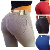 Wholesale Push Pencil - Plus size leggings slim fitness women hip push up high waisted elastic legging pants sexy pencil stretch jeans skinny jeggings