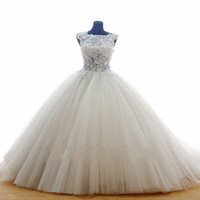 Wholesale Bridal Princess Petticoat - Puffy Lace Wedding Dresses See Through Tulle Ivory Vestido De Noiva Cheap Princess Bridal Gowns With Petticoat