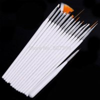 Wholesale Shellac Nails Polish - Set of 15 Pcs Nail Art Brushes for UV Gel Nail shellac Polish Varnish Painting Detailing Drawing Pen Brush pincel de unha White