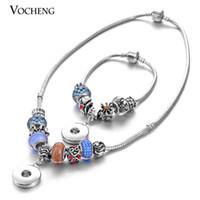 Wholesale Aqua Crystal Necklace - VOCHENG NOOSA Ginger Snap Jewelry Set 7PCS or 9PCS Randomly Beads Charm European Beads Set NN-245