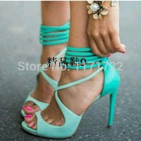 Wholesale Turquoise Blue Flat Shoes - Wholesale-New Arrivals Aqua Ankle Cross Strap Strappy High Heel Sandals Turquoise Designer High Heel Dress Shoes Women