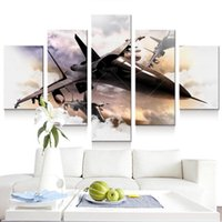 Wholesale Canvas Painting Aircraft - 5 Panel Modern Printed Fighter Aircraft Canvas Painting Combat Aircraft Wall Picture Art For Living Room Unframed Painting Art