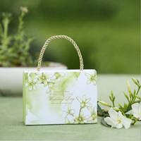 lila handtaschen hochzeit großhandel-Nette Handtasche Style Hochzeit Geschenkbox mit Griff Lovely und Pupular Hochzeit Tasche für Candy Green Purple und rot
