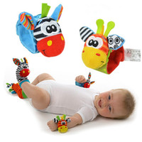 Wholesale Sock Lamaze - New Lamaze Style Sozzy rattle Wrist donkey Zebra Wrist Rattle and Socks toys (1set=2 pcs wrist+2 pcs socks)