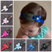 Wholesale feather baby headbands - baby ribbon hair bows Indian style feather decorations headbands for girls children rhinestone hair accessories elastic bands hairbands 8col