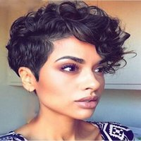 Wholesale Curl Wig New - Top Quality New arriving short cut full wig simulation human hair wig fashion short curl full wigs
