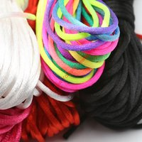 Gros-20yard doux satin Rattail soie Macrame Cord Nylon Kumihimo Shamballa Pour Diy Collier Bracelet Constatations Accessoires Bijoux 2mm