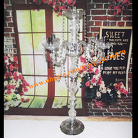 Wholesale Plastic Candlesticks - H35in Acrylic Crystal Clear Candelabra on sliver metal base with crystal garland for wedding centerpieces