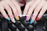 Wholesale Nail Stickers Solid - Wholesale-2X Fashion Korean Style DIY Solid Shimmering Powder Pure Color Full Cover Nail Stickers For Wholesale & Retails T1048