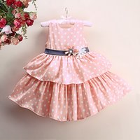 Wholesale cute baby girl clothes summer wear online - Pettigirl Retail New Arrival Cute Girls Party Tiered Dresses White Dot Layered Flowers Sash Decoration Wear Baby Kids Clothing GD41211