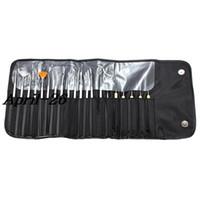 acrílico diseños al por mayor-Al por mayor-20pcs Brush UV Gel Polaco acrílico Nail Art Design Dibujo Pintura punteaguda Constructor Fan Line Pen Kit de herramientas Set Salon Manicure Bag