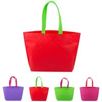 Wholesale Multi Advertising - Wholesale Non Woven Shopping Bag Eco-friendly Resuable Handbag Advertising Gift Bag Candy Color Grocery Bags ZD0044 Smileseller