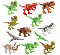 образовательные пазлы оптовых-Динозавры блока головоломки кирпичи динозавры цифры строительные блоки детские развивающие игрушки для детей подарок детские игрушки