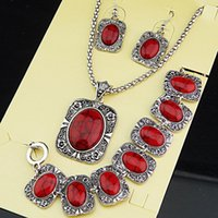 Wholesale Turquoise Squares Bracelet - Big Promotions Antique Silver 3pcs Square Rectangle Red Turquoise Natural Necklace Earrings Bracelet Vintage Jewelry Set A1004