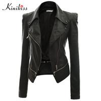 bayanlar motosiklet ceketleri toptan satış-Toptan-Kinikiss 2017 moda kadın kısa siyah deri ceket kaban sonbahar seksi steampunk motosiklet deri ceket kadın gotik ceket