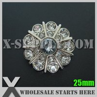 Wholesale Button Decoration Base - Decoration 25mm Acrylic Rhinestone Button with Shank Back in Silver Base with #2 Clear Rhinestones