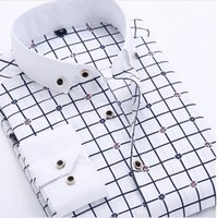 Wholesale Mens Dotted Shirts - Striped shirt Men 2015 New Autumn turn-down collar Floral Mens shirt Slim fit polka dots casual shirts male 4xl men clothes