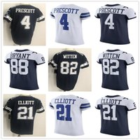Wholesale Cuffed Men S - 2018 New Season #4 Dak Prescott Jersey Cheap Blue White Ezekiel Elliott Jason Witten Dez Bryant Elastic Jerseys Sleeve Cuff Sean Lee Smith