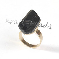 Asian & East Indian black tourmaline ring - Charm Gold Plated Natural Black Tourmaline Stone Random Shape Adjustable Finger Ring Fashion Jewelry