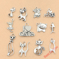Wholesale Tibetan Jewelry Accessories Wholesale - 120pcs Mixed Tibetan Silver Cat Charms Pendants For Jewelry Making Craft DIY Findings Accessories Handmade