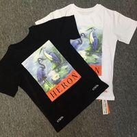 Wholesale new shirt patterns - New York Fashion High Quality Chinese Style Crane Pattern Summer Men Women Street Luxury Cotton Tee Shirt Casual Tee