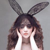 Wholesale Headband Lace Mask - Sexy Lace Mask Lady Gaga Rabbit Bunny Ears Veil Hair Bands Headbands for Bridal Wedding Christmas Halloween Party Black white