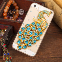 Para iphone 7 Plus Diamante Crystal Peacock Tranparent case Rhinestone Fashion Bling PC capa traseira cobertura do telefone para iphone 5s 6S plus