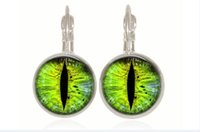 Wholesale Glass Cabochon Earrings - 1 pair green cat Eye drop Earring Silver Plated French Lever Back Glass Cabochon Copper Earring for women