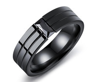 joyas de circón negro al por mayor-Joyería negra anillo de titanio de diamantes de acero personalizado anillo de los hombres anillo de circón negro carpeta de anillo de diamantes