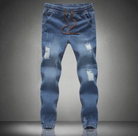 Wholesale Originals Perfumes - Wholesale-2015 New mens Stylish ripped Jogger Jeans Skinny biker jeans perfumes original Plus size S M L XXL XXXL 4XL 5XL elastic jeans