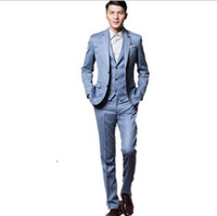 Wholesale Baby Blue Tuxedo Jacket - New Style Groom Tuxedos Baby Blue Groomsmen Notch Lapel Best Man Suit Bridegroom Wedding Dinner Suits (Jacket+Pants+Tie+Vest)