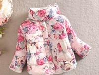 Wholesale Outwear Coat Flower - Girl Coat Flower Printing Winter Children Cotton Coats Thicken Add Wool Plush High Neck Baby Kids Outwear 1PCS Retail WD383