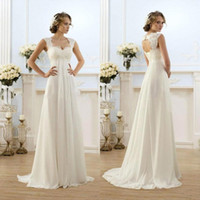Wholesale Lace Maternity Wedding Gowns - New Sexy Beach Empire Plus Size Maternity Wedding Dresses 2016 Cap Sleeve Keyhole Lace Up Backless Chiffon Summer Pregnant Bridal Gowns