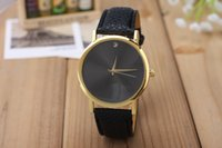 2015 Fashion sale simple style geneva cuir PU montre dames femmes hommes unisex quartz robe montre-bracelet