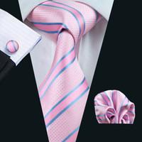 голубой галстук розовые полоски оптовых-Полосатый набор для галстука для мужчин Розовый синий платок Hanky Запонки с жаккардовым узором и галстуком Шелковый мужской набор Деловая работа Formal N-0433