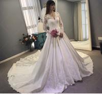 kate lace v neck dress toptan satış-2019 Prenses Kate gelinlik uzun kollu şair V boyun saten kat uzunluk lace up gelinlik gelin evlilik için