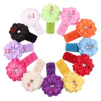Wholesale hairbow flowers - Baby Chiffon crochet headhand Christmas Colorful Floral Elastic Peony flower Hairband hairbow Accessorie B11
