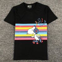 Wholesale Dog Musical - Fashion Women's Printing T-Shirt Cute Animal Dog T-shirt With Musical Notes Cotton Women Tops Novelty Color Stripe Tees Cheap Wholesale
