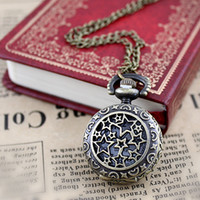 Wholesale Cheap Vintage Pocket Watches - Fashion Hot Selling Star Cheap Vintage Flower Hollow out Alloy Pocket Watch