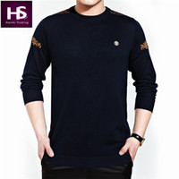 Wholesale Cashmere Jerseys Hombre - Wholesale-O-Neck Sweater Men Cashmere Wool Mens Sweaters Fashion Shirt Pullover Men Pull Homme Badge Brand Casual Dress Jersey Hombre OEM